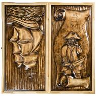 Нарды резные ручной работы Морской Волк 63х32х7 см, фото 1